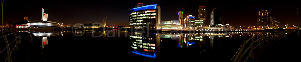 A photograph of Media City in Salford Quays taken at Night