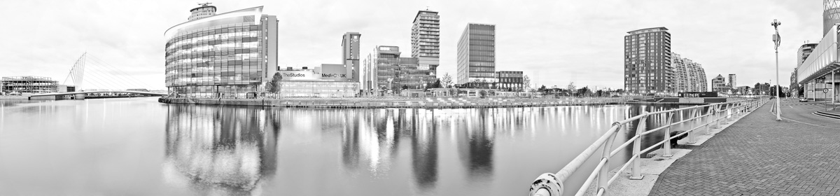 A photograph of Salford Quays at dusk
