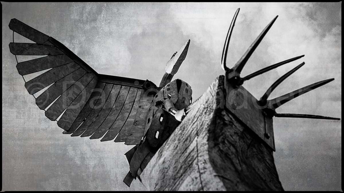 A photograph of a bird sculpture