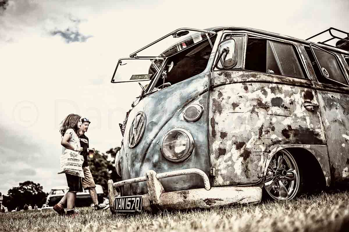 Photograph of a lowered Volkswagen Type II taken at Camper Jam in 2015