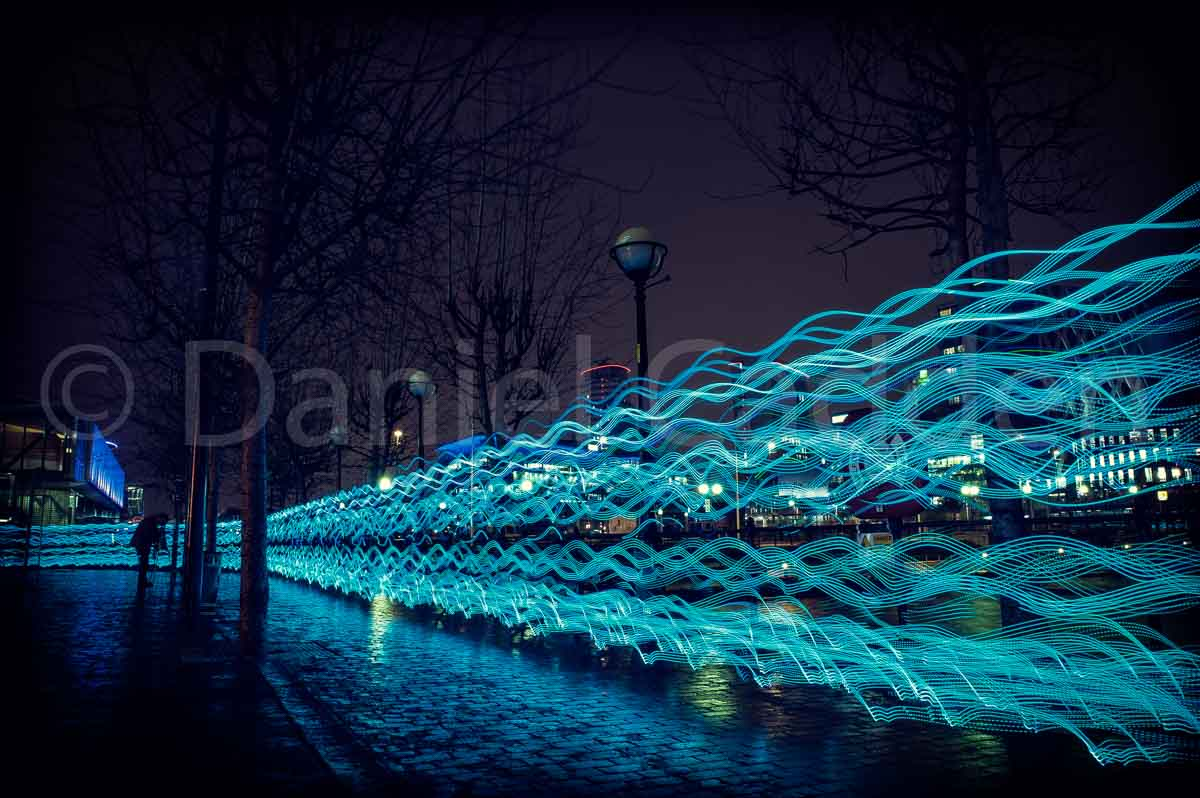 A photograph from the Salford Quays' NVA Festival of Light