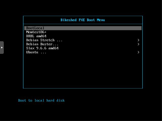 PXELINUX boot menu